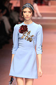 A model walks the runway at the Dolce Gabbana show during the Milan Fashion Week Autumn/Winter 2015 on March 1 2015 in Milan Italy
