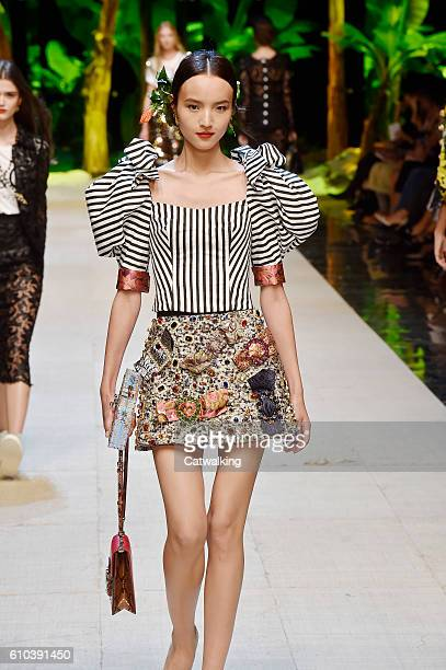 A model walks the runway at the Dolce Gabbana Spring Summer 2017 fashion show during Milan Fashion Week on September 25 2016 in Milan Italy