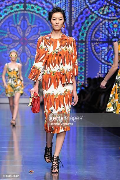 A model walks the runway at the Dolce Gabbana Spring/Summer 2012 fashion show as part Milan Womenswear Fashion Week on September 25 2011 in Milan...