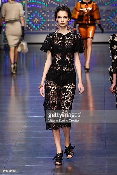A model walks the runway at the Dolce Gabbana Spring/Summer 2012 fashion show as part Milan Womenswear Fashion Week on September 25 2011 in Milan...