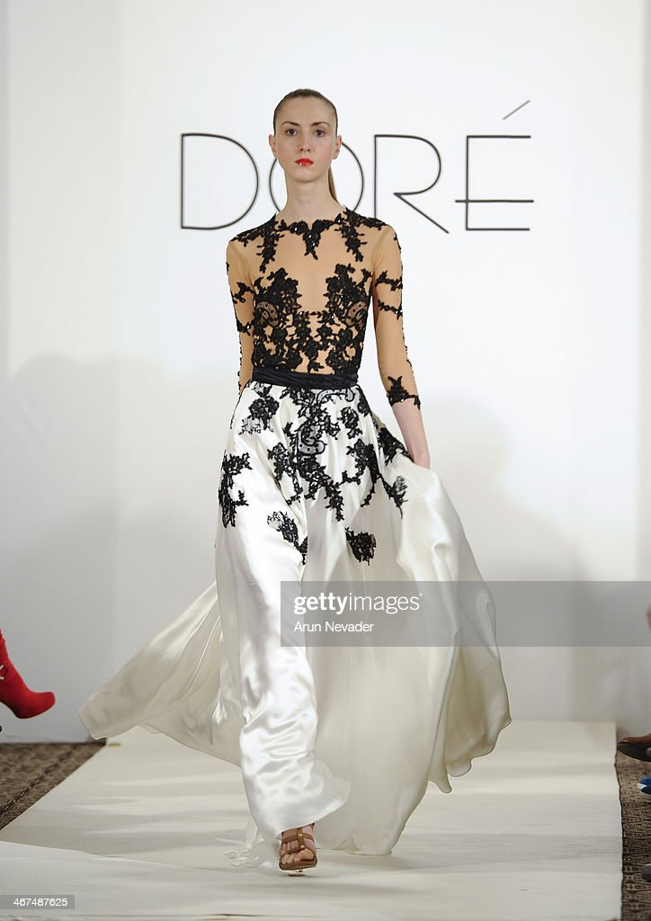 A model walks the runway at the Dore fashion show during Mercedes-Benz Fashion Week Fall 2014 at Empire Hotel on February 6, 2014 in New York City.
