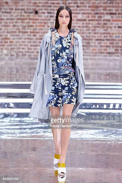 A model walks the runway at the Dorothee Schumacher show during the MercedesBenz Fashion Week Berlin Spring/Summer 2017 at Elisabethkirche on June 29...