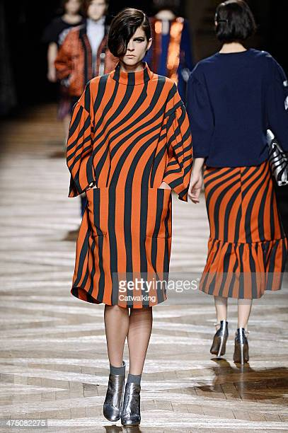 A model walks the runway at the Dries Van Noten Autumn Winter 2014 fashion show during Paris Fashion Week on February 26 2014 in Paris France