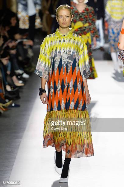 A model walks the runway at the Dries Van Noten Autumn Winter 2017 fashion show during Paris Fashion Week on March 1 2017 in Paris France