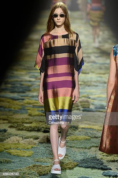 A model walks the runway at the Dries Van Noten Spring Summer 2015 fashion show during Paris Fashion Week on September 24 2014 in Paris France