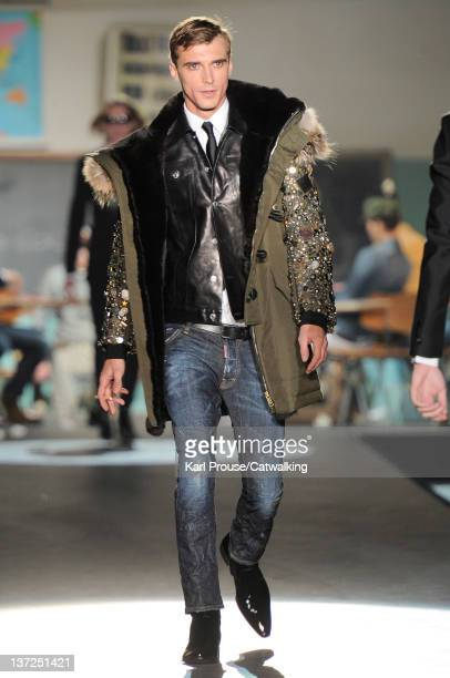 A model walks the runway at the DSquared2 Autumn Winter 2012 fashion show during Milan Menswear Fashion Week on January 17 2012 in Milan Italy
