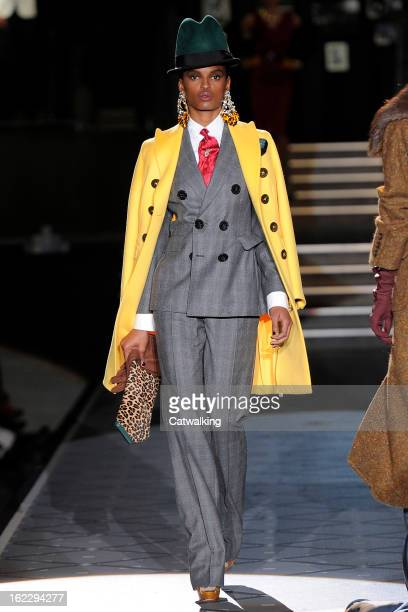 A model walks the runway at the DSquared2 Autumn Winter 2013 fashion show during Milan Fashion Week on February 21 2013 in Milan Italy