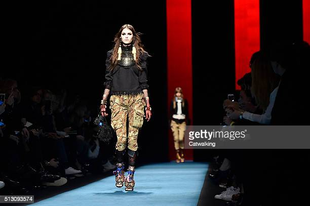 A model walks the runway at the DSquared2 Autumn Winter 2016 fashion show during Milan Fashion Week on February 29 2016 in Milan Italy