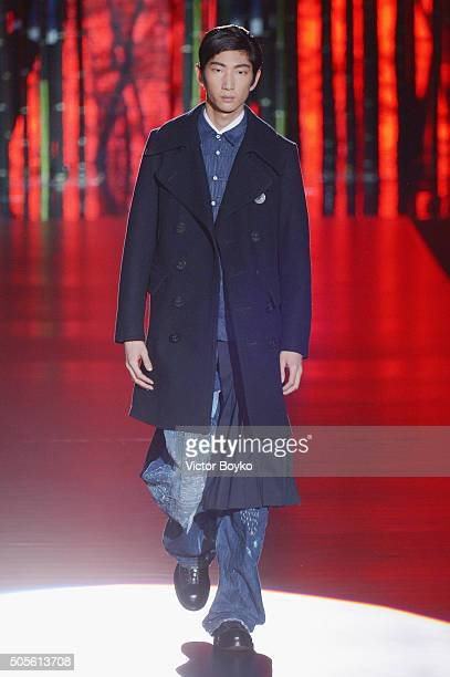A model walks the runway at the Dsquared2 show during Milan Men's Fashion Week Fall/Winter 2016/17 on January 19 2016 in Milan Italy