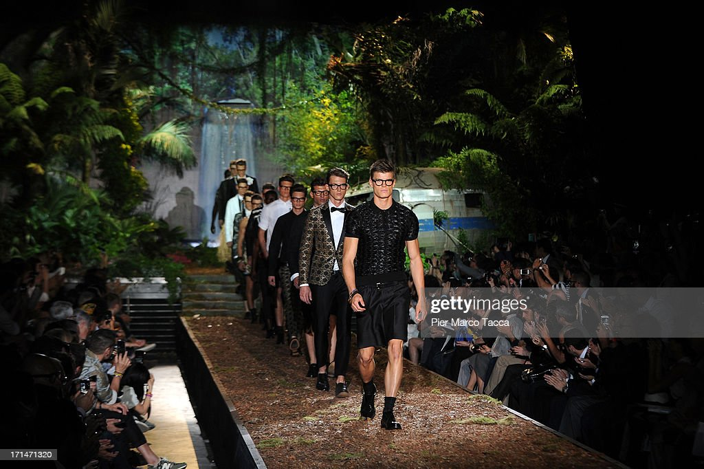 A model walks the runway at the DSquared2 show during Milan Menswear Fashion Week Spring Summer 2014 on June 25, 2013 in Milan, Italy.