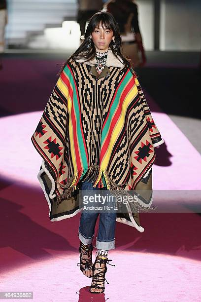 A model walks the runway at the Dsquared2 show during the Milan Fashion Week Autumn/Winter 2015 on March 2 2015 in Milan Italy
