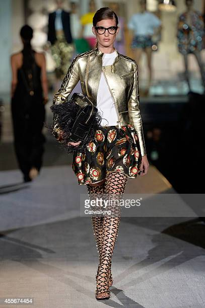 A model walks the runway at the DSquared2 Spring Summer 2015 fashion show during Milan Fashion Week on September 18 2014 in Milan Italy