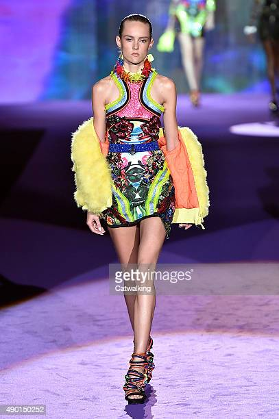A model walks the runway at the DSquared2 Spring Summer 2016 fashion show during Milan Fashion Week on September 26 2015 in Milan Italy