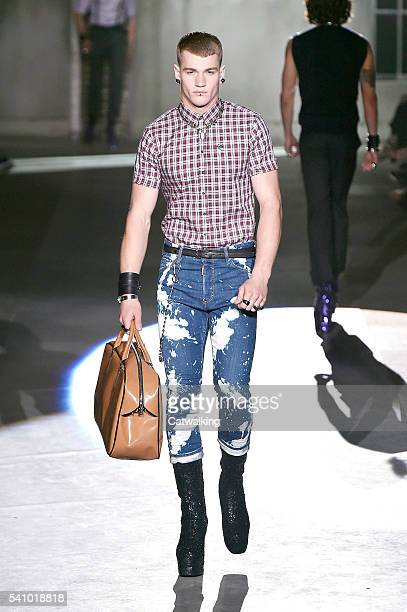 A model walks the runway at the DSquared2 Spring Summer 2017 fashion show during Milan Menswear Fashion Week on June 17 2016 in Milan Italy