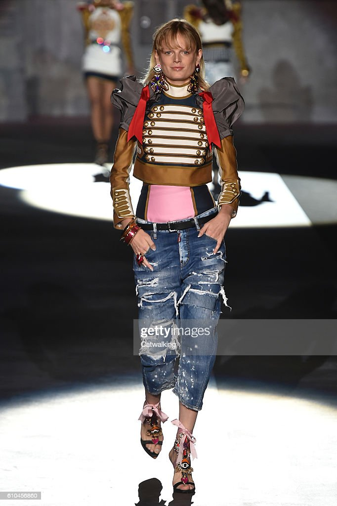 model-walks-the-runway-at-the-dsquared2-spring-summer-2017-fashion-picture-id610456860