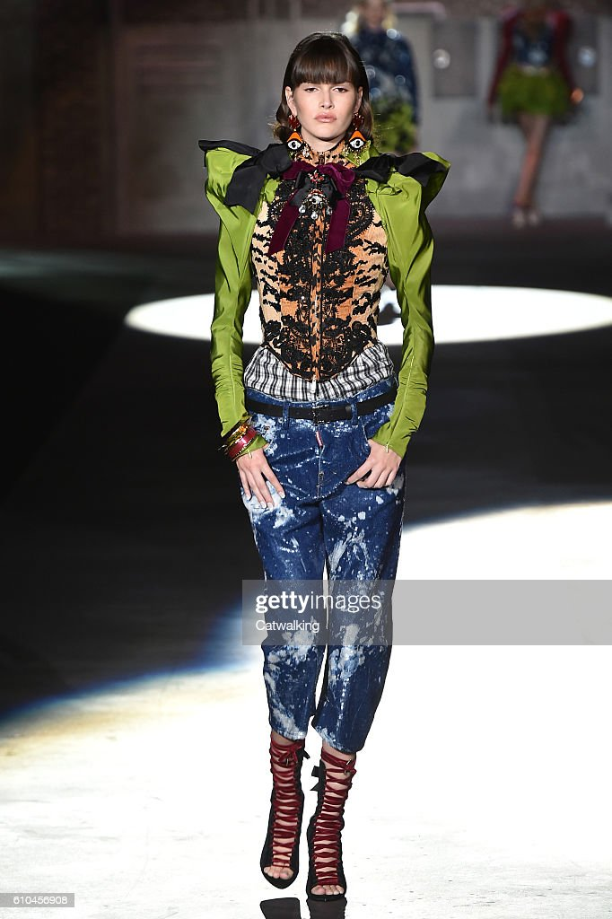 model-walks-the-runway-at-the-dsquared2-spring-summer-2017-fashion-picture-id610456908