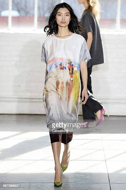 A model walks the runway at the Duckie Brown Autumn Winter 2014 fashion show during New York Fashion Week on February 6 2014 in New York United States