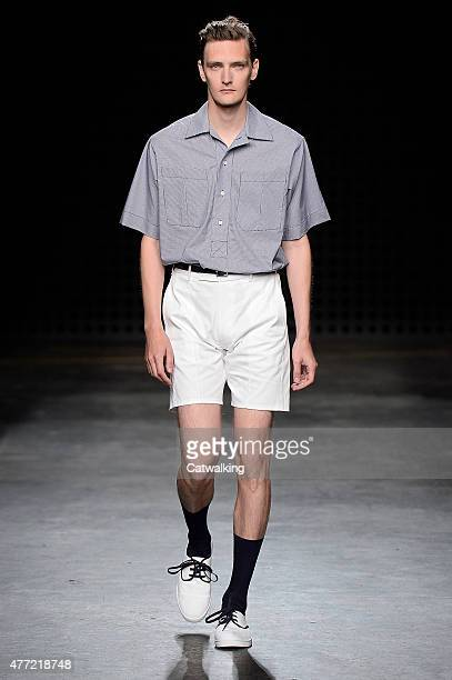 A model walks the runway at the E Tautz Spring Summer 2016 fashion show during London Menswear Fashion Week on June 15 2015 in London United Kingdom