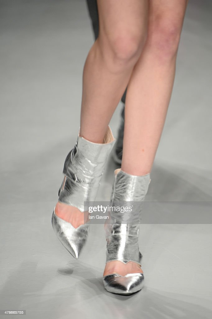 A model (shoe detail) walks the runway at the Ece Gozen show during MBFWI presented by American Express Fall/Winter 2014 on March 14, 2014 in Istanbul, Turkey.