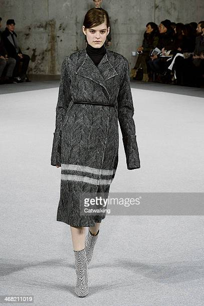 A model walks the runway at the Edun Autumn Winter 2014 fashion show during New York Fashion Week on February 9 2014 in New York United States