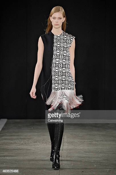 A model walks the runway at the Edun Autumn Winter 2015 fashion show during New York Fashion Week on February 15 2015 in New York United States
