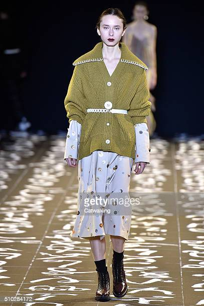 A model walks the runway at the Edun Autumn Winter 2016 fashion show during New York Fashion Week on February 14 2016 in New York United States