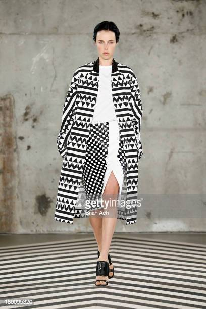 A model walks the runway at the Edun fashion show during MercedesBenz Fashion Week Spring 2014 at Skylight Modern on September 8 2013 in New York City