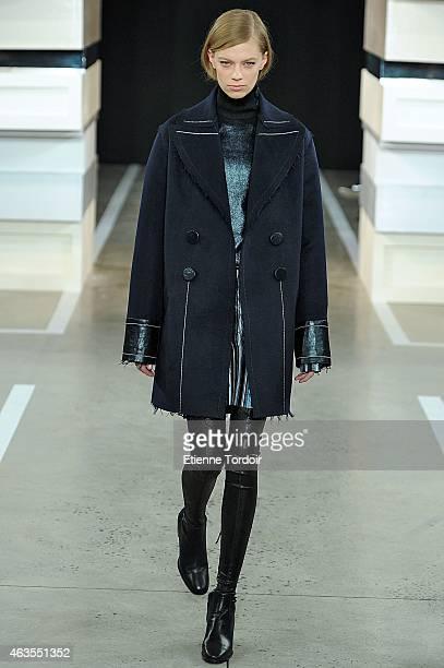 A model walks the runway at the Edun Fashion Show during MercedesBenz Fashion Week Fall 2015 at Skylight Modern on February 15 2015 in the Brooklyn...