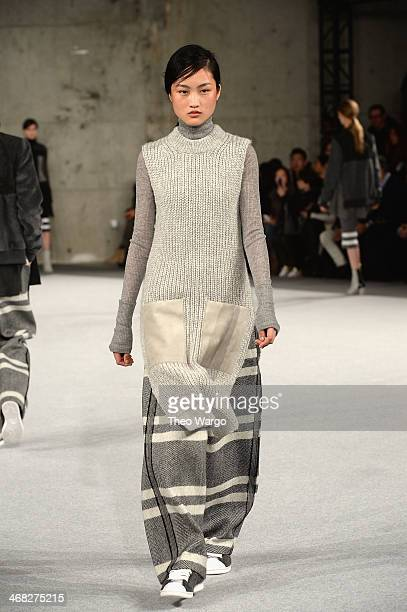 A model walks the runway at the Edun fashion show during MercedesBenz Fashion Week Fall 2014 at Skylight Modern on February 9 2014 in New York City