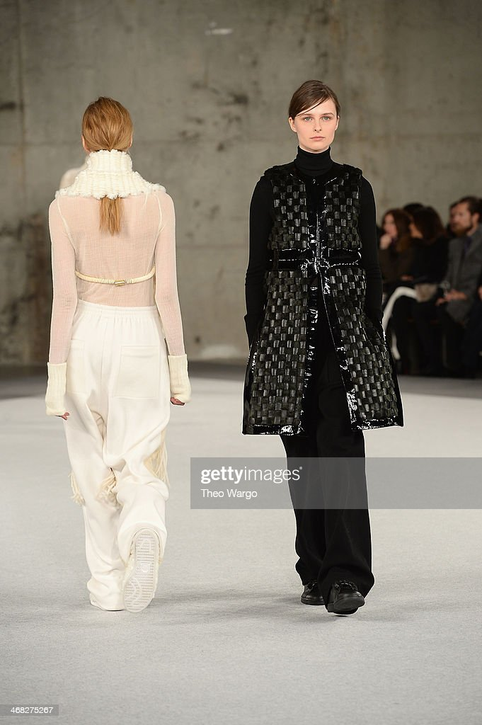 A model walks the runway at the Edun fashion show during Mercedes-Benz Fashion Week Fall 2014 at Skylight Modern on February 9, 2014 in New York City.