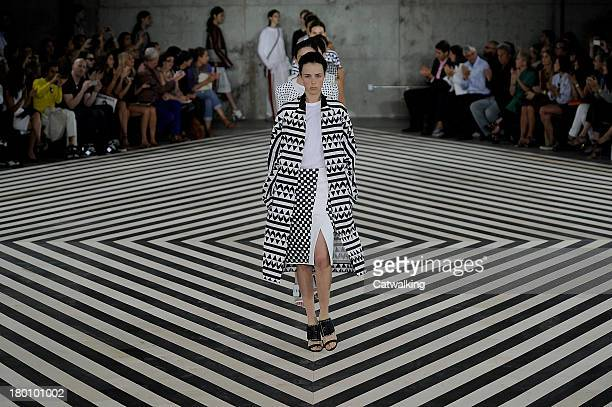 A model walks the runway at the Edun Spring Summer 2014 fashion show during New York Fashion Week on September 8 2013 in New York United States