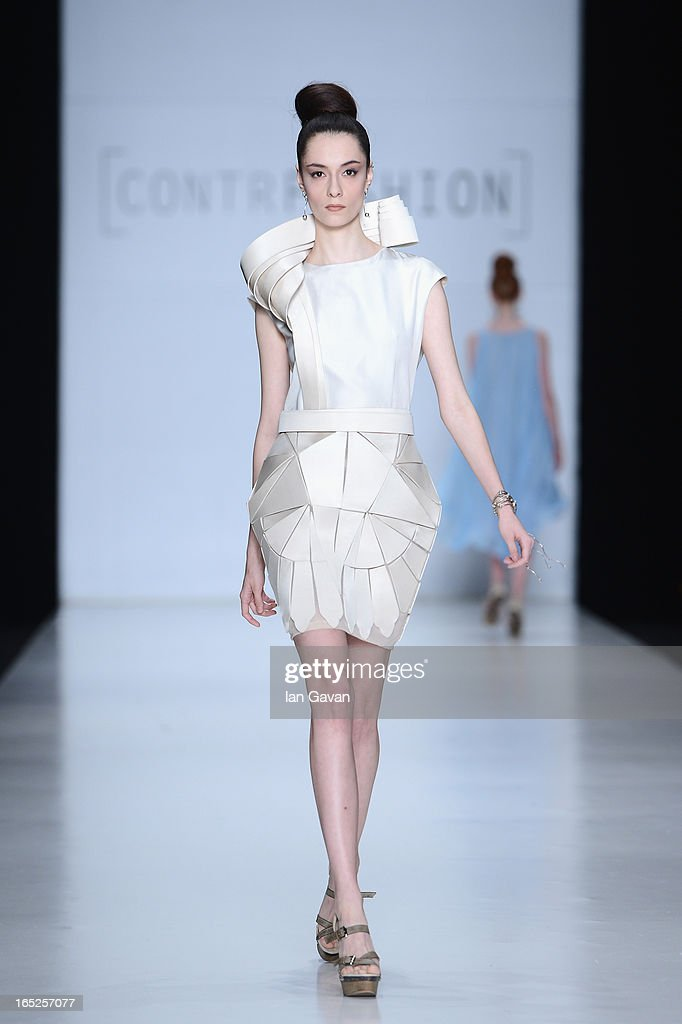 A model walks the runway at the Ekaterina Vasilieva show for Contrfashion during Mercedes-Benz Fashion Week Russia Fall/Winter 2013/2014 at Manege on April 2, 2013 in Moscow, Russia.