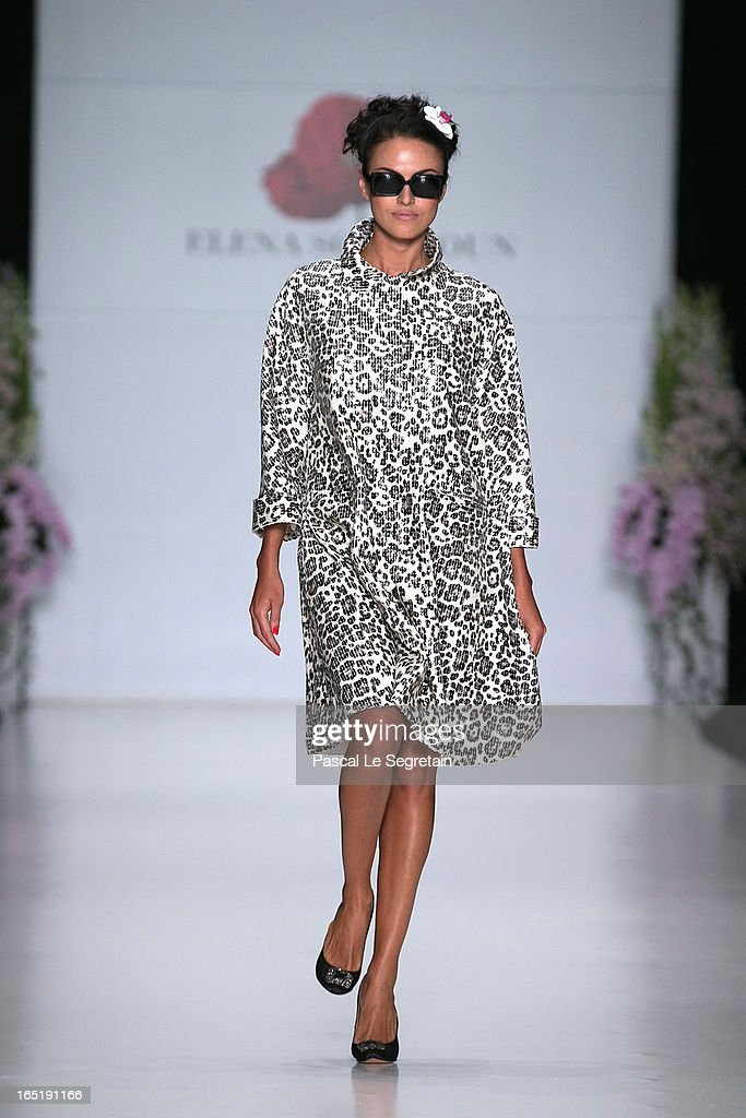 A model walks the runway at the Elena Souproun show during Mercedes-Benz Fashion Week Russia Fall/Winter 2013/2014 at Manege on April 1, 2013 in Moscow, Russia.