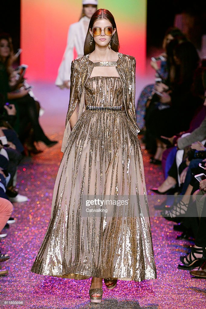 a model walks the runway at the elie saab spring summer fashion show during paris