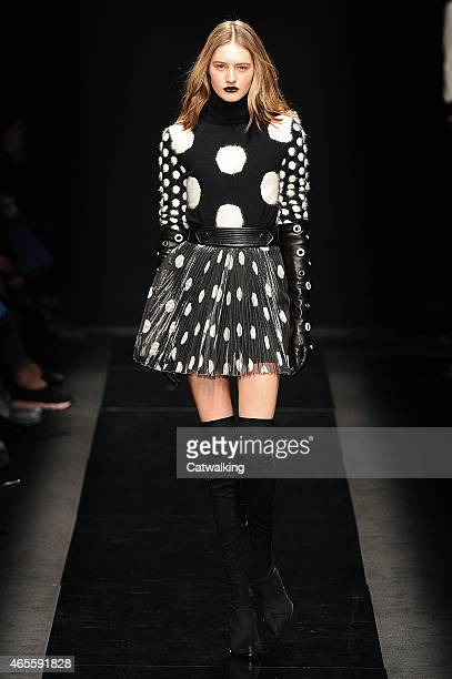 A model walks the runway at the Emanuel Ungaro Autumn Winter 2015 fashion show during Paris Fashion Week on March 8 2015 in Paris France