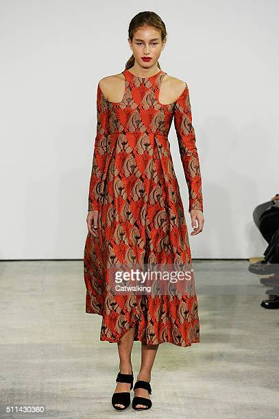 A model walks the runway at the Emilia Wickstead Autumn Winter 2016 fashion show during London Fashion Week on February 20 2016 in London United...