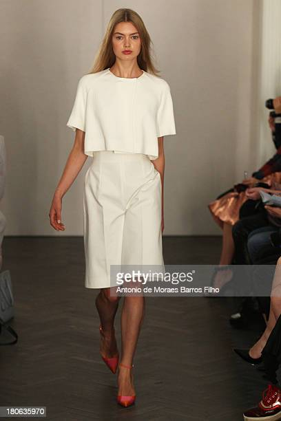 A model walks the runway at the Emilia Wickstead show during London Fashion Week SS14 on September 15 2013 in London England