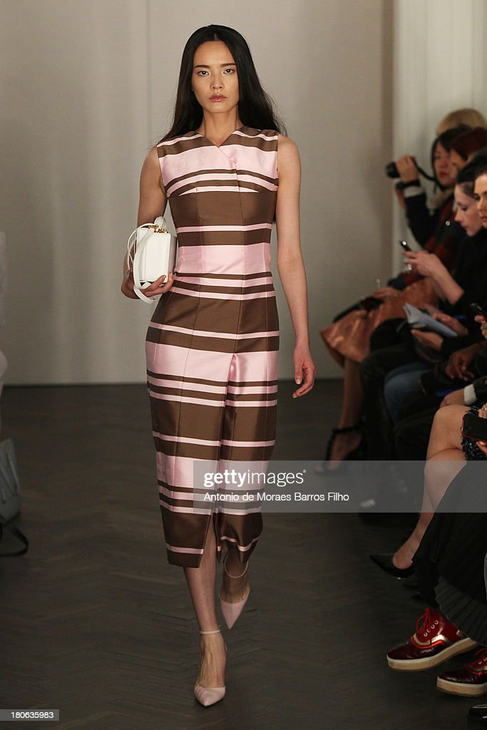 A model walks the runway at the Emilia Wickstead show during London Fashion Week SS14 on September 15, 2013 in London, England.
