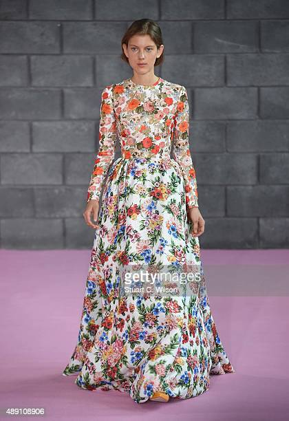 A model walks the runway at the Emilia Wickstead show during London Fashion Week Spring/Summer 2016/17 on September 19 2015 in London England