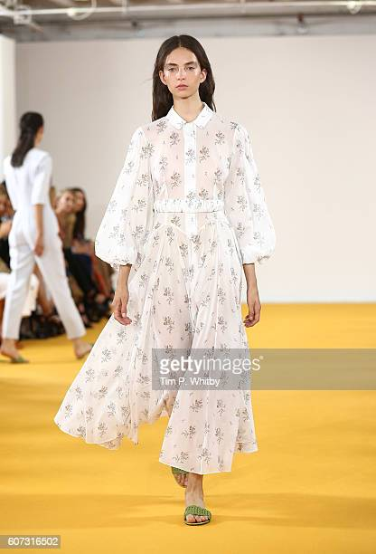 A model walks the runway at the Emilia Wickstead show during London Fashion Week Spring/Summer collections 2017 at Victoria House on September 17...