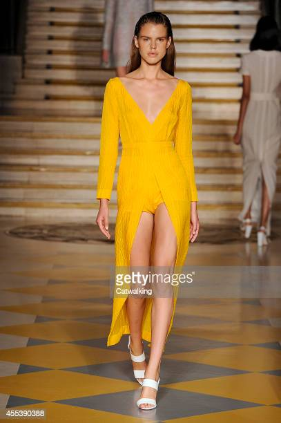 A model walks the runway at the Emilia Wickstead Spring Summer 2015 fashion show during London Fashion Week on September 13 2014 in London United...