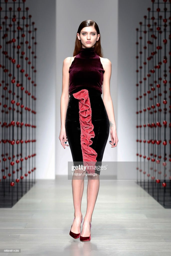 A model walks the runway at the Emilio De La Morena show at London Fashion Week AW14 at Somerset House on February 15, 2014 in London, England.