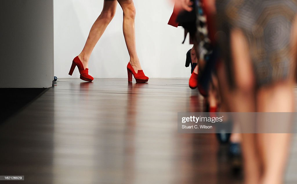 A model walks the runway at the Emilio de la Morena show during London Fashion Week Fall/Winter 2013/14 at Somerset House on February 19, 2013 in London, England.