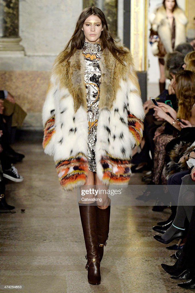 A model walks the runway at the Emilio Pucci Autumn Winter 2014 fashion show during Milan Fashion Week on February 22 2014 in Milan Italy