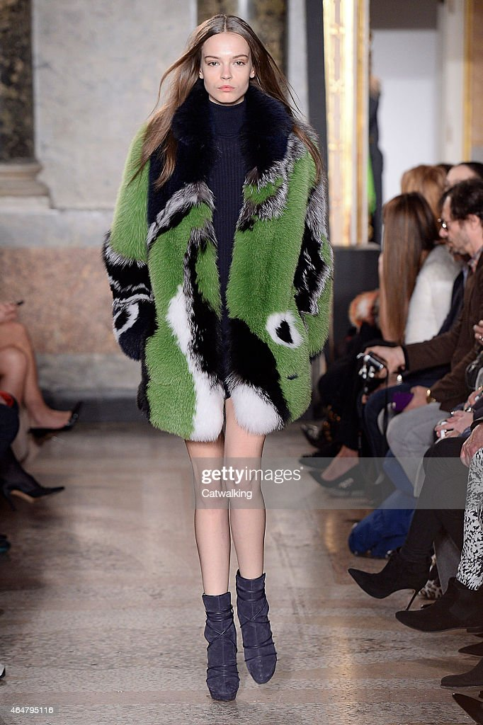 A model walks the runway at the Emilio Pucci Autumn Winter 2015 fashion show during Milan Fashion Week on February 28 2015 in Milan Italy