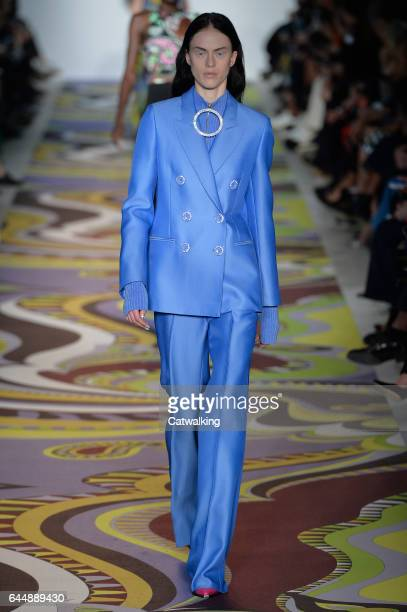 A model walks the runway at the Emilio Pucci Autumn Winter 2017 fashion show during Milan Fashion Week on February 23 2017 in Milan Italy