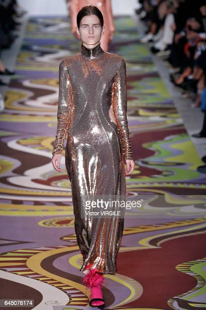 A model walks the runway at the Emilio Pucci Ready to Wear fashion show during Milan Fashion Week Fall/Winter 2017/18 on February 23 2017 in Milan...