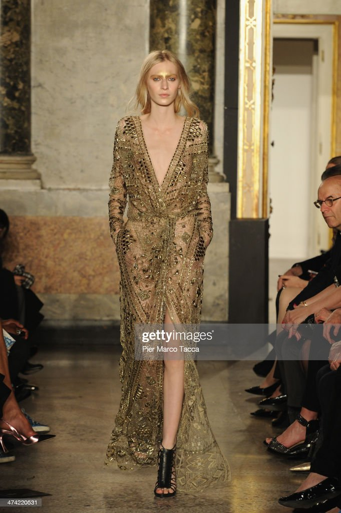 A model walks the runway at the Emilio Pucci Show as part of Milan Fashion Week Womenswear Autumn/Winter 2014 on February 22 2014 in Milan Italy