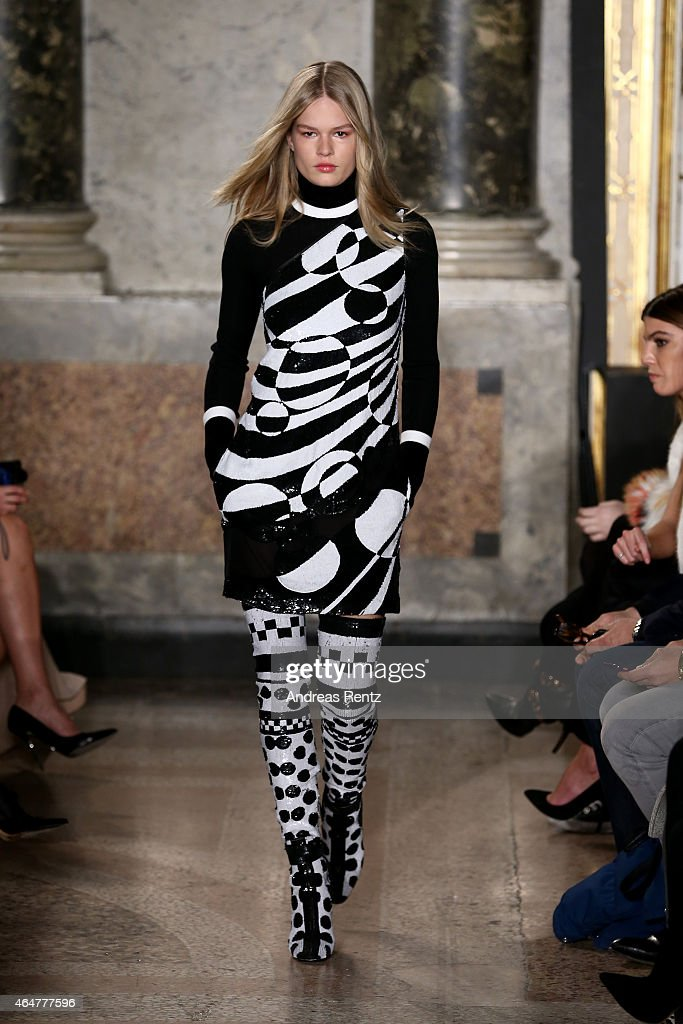 A model walks the runway at the Emilio Pucci show during the Milan Fashion Week Autumn/Winter 2015 on February 28 2015 in Milan Italy