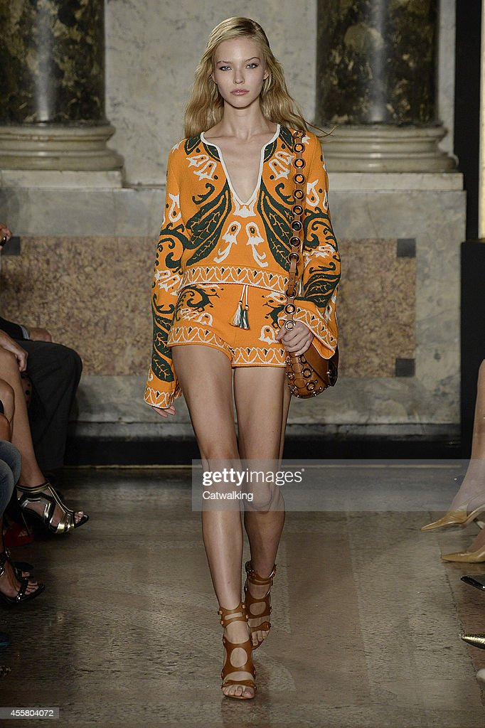 A model walks the runway at the Emilio Pucci Spring Summer 2015 fashion show during Milan Fashion Week on September 20 2014 in Milan Italy